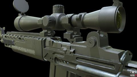 MK14 Ebr Rifle ( low poly) 3D model