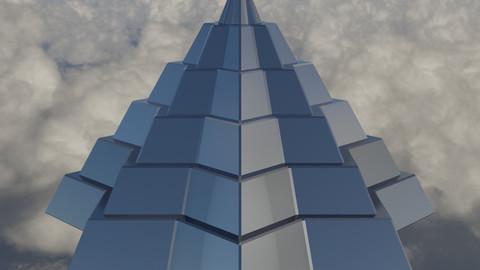 Silver Pyramidal Structure 8 Corners Mayan Style