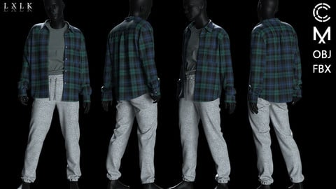 Mens Joggers and shirt outfit - MD, Daz3d