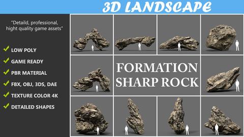 Sharp Rock Formation Pack C 191226 - Brown