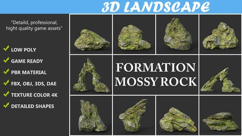 Low poly Mossy Rock Formation Pack 191221