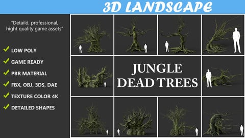 Low poly Mossy Jungle Dead Tree Pack 191224