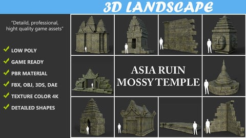 Low poly Mossy Ruin Asia Temple Pack 190815