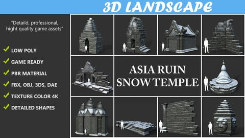 Low poly Snow Ruin Asia Temple Pack 190815