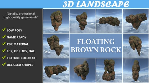 Low poly Brown Floating Island Mossy Rock Pack 190830