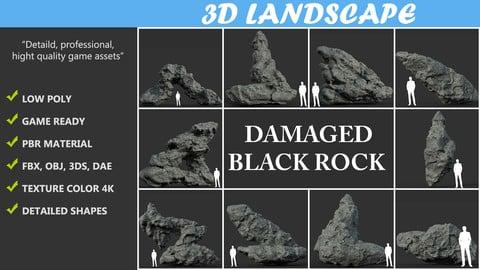 Low poly Damaged Black Rock Pack A-190430