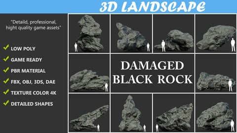 Low poly Damaged Black Rock Pack B 190425