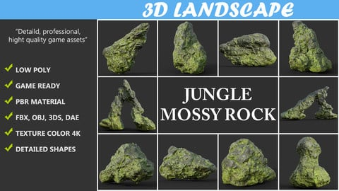 Low poly Damaged Jungle Mossy Rock Pack A 190425