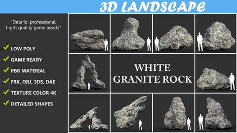 Low poly Damaged Granite Rock Pack A 190425