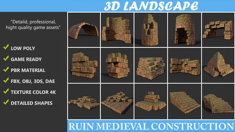 Low poly Terracotta Ruin Medieval Construction Pack 190423