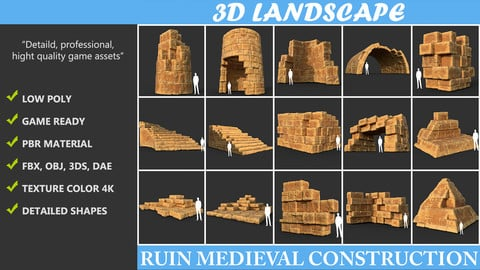 Low poly Yellow Desert Ruin Medieval Construction Pack 190423