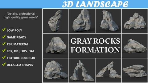 Low poly Gray Rock Formation Pack A 190421