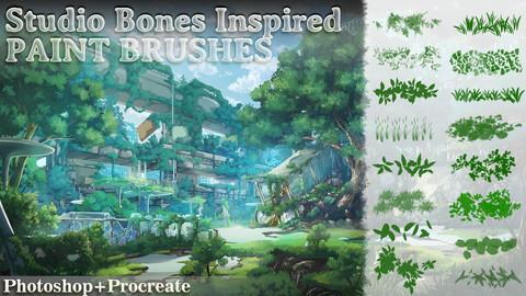 Studio Bones Inspired Paint Brushes ( Photoshop + Procreate )