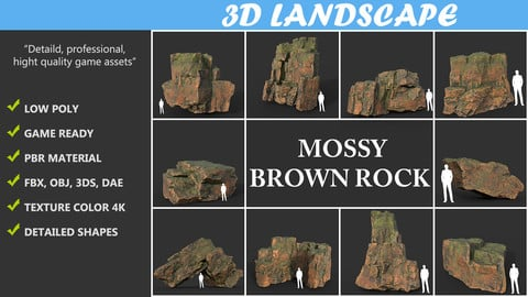 Low poly Brown Mossy Cliff Rock Pack 190829