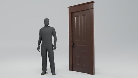 Old Squeaky Door Low-poly 3D Model