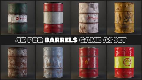 Barrels Game assets - 4K PBR Lowpoly