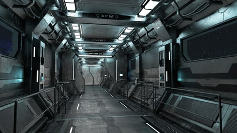 Sci-Fi Modular Corridor with Door Version 1- Low Poly