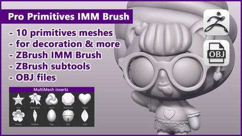 ZBrush Pro Primitives IMM Brush / ZBrush files + OBJ files