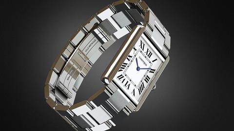 High-detailed 3D model luxury watch Cartier Tank Solo