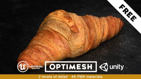 Croissant PBR 3D Pack Free low-poly 1/3