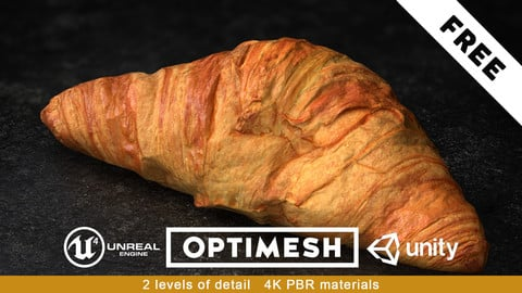 Croissant PBR 3D Pack Free low-poly 3/3