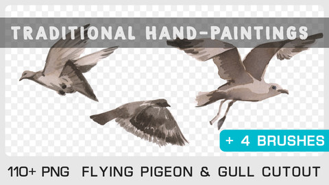 FLYING PIGEON & GULL CUTOUT & BRUSH - Traditional painting pack - 110 PNG + 4 Brushes & 1 bonus PSD