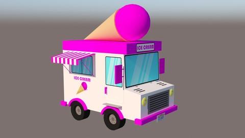 Ice Cream Van Low-poly 3D model