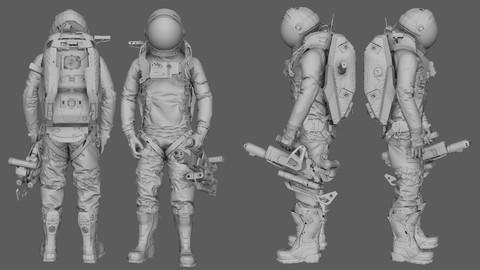 Astronaut SciFi - subdivision modeling/uvs - Hard Surface