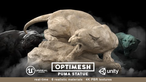 Puma wild cat Statue - 3D PBR model Low-poly