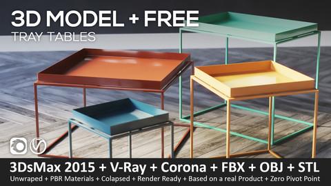 Tray Tables - 3D-Model (3ds Max 2015 + Vray + Corona + FBX + STL + Obj)
