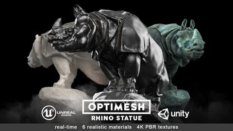 Rhino Rhinoceros Statue - 3D PBR model Low-poly