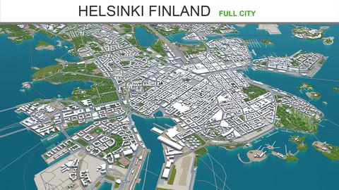Helsinki city Finland 3d model 20km