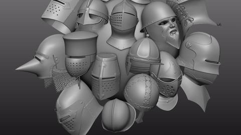 IMM zbrush medieval helmets