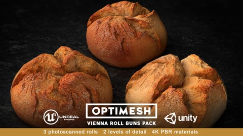 Vienna Roll Bun 3D PBR Pack Low-poly