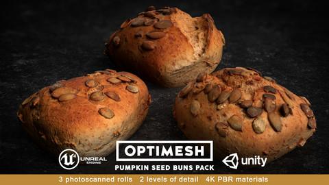 Pumpkin Seed Roll Bun 3D PBR Pack Low-poly