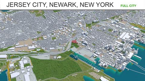 Jersey City Newark New York 3d model 40km