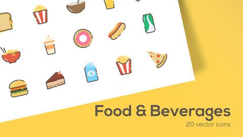 Food & Beverages - 2D Icons set