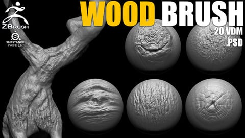 Wood & Tree Brushes for ZBrush (20 VDM + Alphas PSD)
