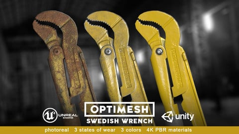 Swedish wrench - 3D PBR model Low-poly