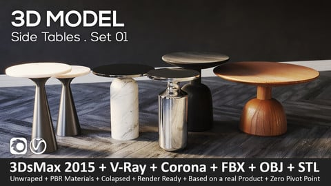 Side Tables . Set 01 - 3D-Model (3ds Max 2015 + Vray + Corona + FBX + STL + Obj)