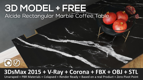 Alcide Rectangular Marble Coffee Tables (3ds Max 2016 + Vray + Corona + fbx + Obj + STL)
