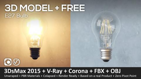 Bulb E27 (3Ds Max 2016 + Vray + Corona + Fbx + Obj + STL)