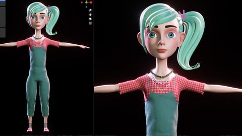 Stylized Character Girl - Blender Cycles And Eevee - Julie - 3D Model