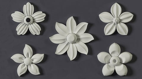5 Floral Ornament brushes, alphas and 3D models
