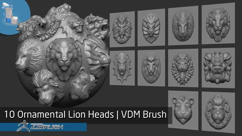 10 Ornamental Lion Heads | VDM Brush - Zbrush
