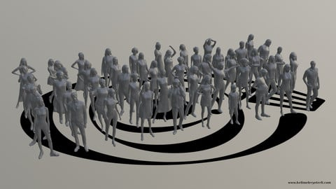 Low Poly People Pack 012 - 50 Pieces R