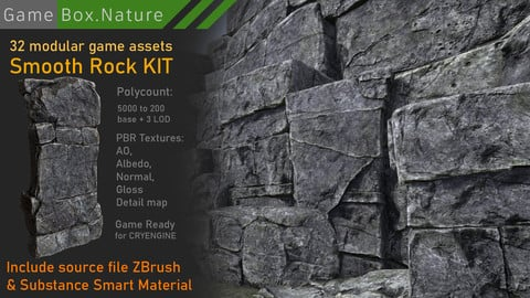 SMOOTH ROCK PACK modular game ready asset