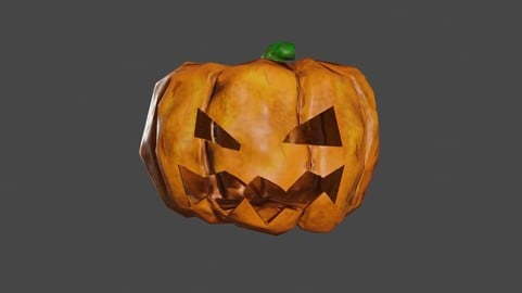 Animated Pumpkin Head Low Poly