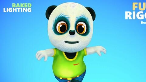 Panda Bear Low poly Animated Rigged