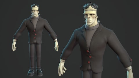Frankenstein monster cartoon character base mesh
